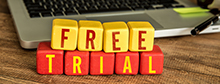 Image of blocks spelling out Free Trial.